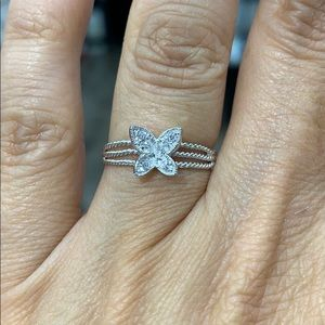Sterling silver Butterfly CZ Ring Band 3 4 5 6 7 8